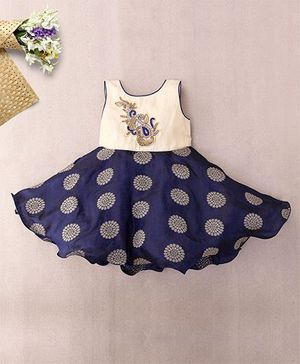 M'Princess Peacock Applique Party Dress - Navy Blue