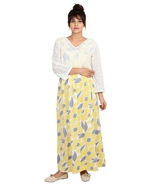 9teen Again Full Sleeves Printed Maternity Dress - Yellow White