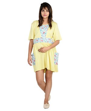 9teenAGAIN Solid And Print Patch Nighty - Yellow