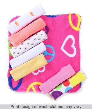 Babyhug Printed Knit Wash Cloth Pack of 8 - Multi Color