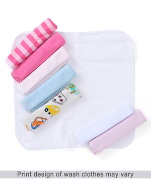 Babyhug Knit Wash Cloth Pack Of 8 - Multi Color