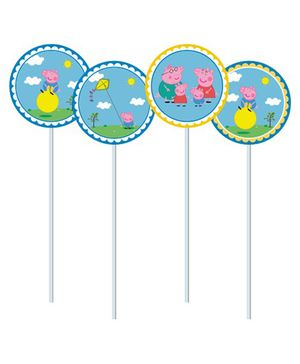 Peppa Pig Theme Cupcake Food Toppers - Blue