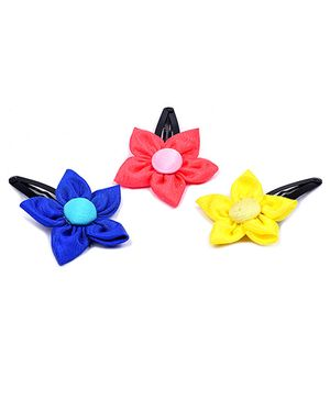 Knotty Ribbons Set Of Three Handmade Flower Hair Clips - Pink Blue & Yellow