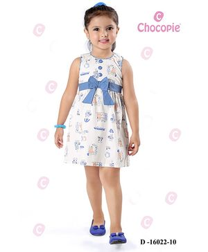 Chocopie Sleeveless Frock Bow Applique - Blue And White