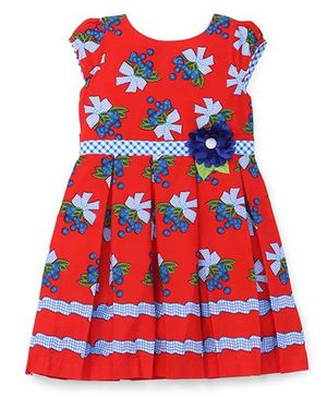 Eiora Flower Bouquet Printed Casual Dress - Red