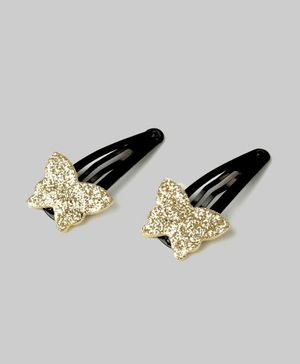 Carolz Jewelry Butterfly Design Pair Of Clips - Gold