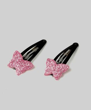 Carolz Jewelry Butterfly Design Pair Of Clips - Pink