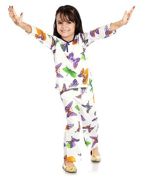 Little Pockets Store Butterfly Print Night Suit - White & Purple