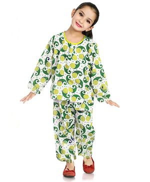 Little Pockets Store Paisley Print Night Suit - Green & White