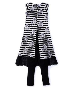 Rosy Bow Sleeveless Tunic Printed With Leggings - Black White