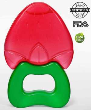 Babyhug Strawberry Fruit Shape Teether - Red Green
