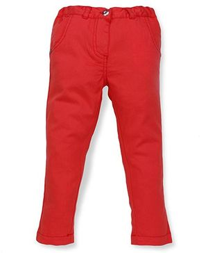 Pinehill Plain Solid Color Cotton Twill Pant - Red
