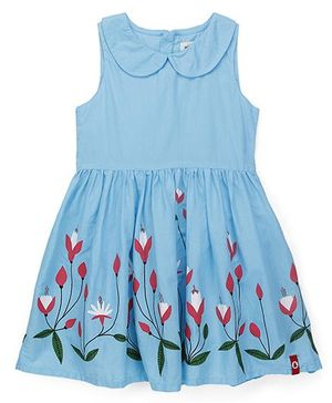 Pinehill Peter Pan Collar Frock Floral Print - Blue