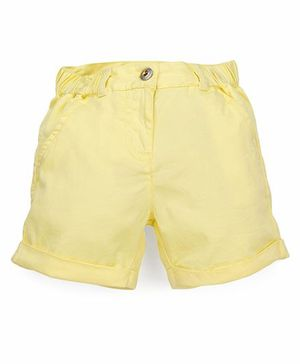 Pinehill Plain Solid Color Shorts With Turn-Up Hem - Yellow