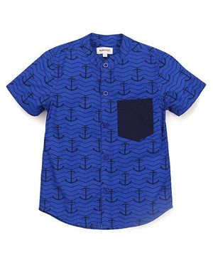Pinehill Half Sleeves Shirt Anchor Print - Dark Blue