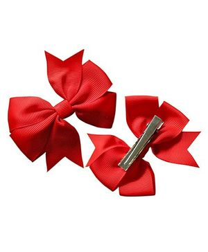 Akinos Kids Double Bow Flower Shape Applique Hair Clip - Red