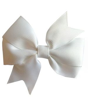 Akinos Kids Double Bow Flower Shape Applique Hair Clip - White