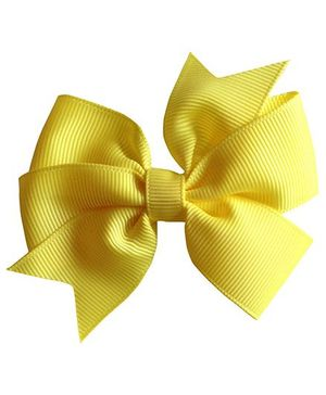 Akinos Kids Double Bow Flower Shape Applique Hair Clip - Yellow