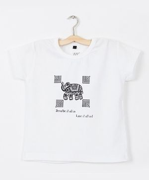Milonee T-Shirt With Traditional Elephant Motif - White