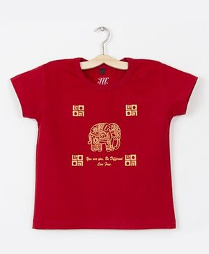 Milonee T-Shirt With Traditional Elephant Print - Red