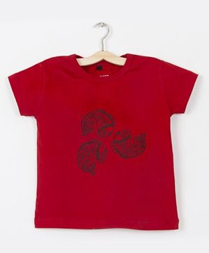 Milonee T-Shirt With Ethnic Fish Print - Red