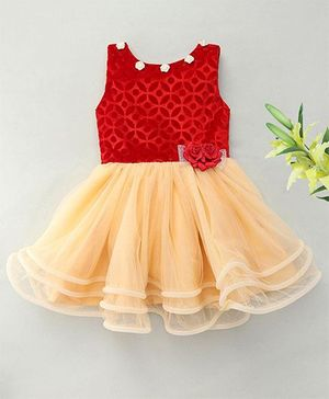 M'Princess Net Gathered Party Dress - Red