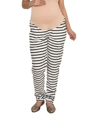 9teenAgain Maternity Striped Pajamas - Black & White