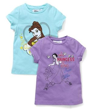 Chemistry Half Sleeves Tops Pack Of 2 Princess Print - Blue Mauve