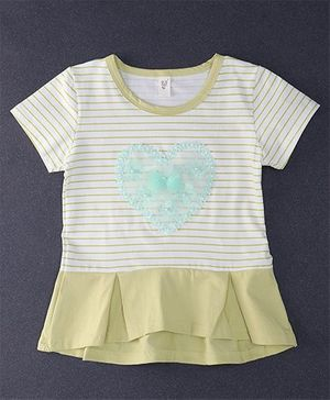 Happy Childhood Lace Design Stripe Print Top - Lemon Yellow & White