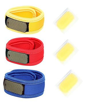 Safe-O-Kid 3 Mosquito Repellent Bands -Fabric, Reusable, Ayurvedic & Natural, Blue, Red & Yellow, Pack of 3