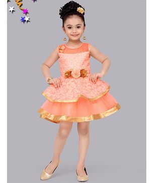 M'Princess Flower Patchwork Dress - Peach