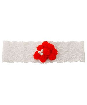 Funkrafts Pom Pom Stretchable Headband - Red & White