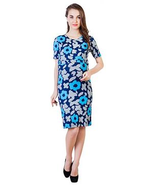 Blush 9 Knee Length Printed Maternity Dress - Blue & White