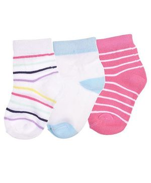 Footprints Super Soft Organic Cotton Stripes Design & Plain Socks Pack Of 3 - White Pink Blue