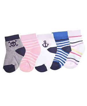 Footprints Super Soft Organic Cotton Anchor & Stripes Design Socks Pack Of 5 - White Pink Blue Grey