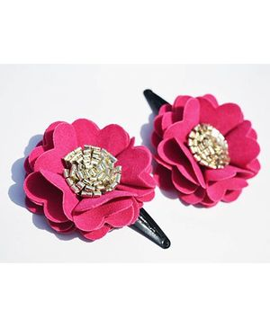 Little Tresses Scalloped Flower Snap Clip Set Of 2 - Pink