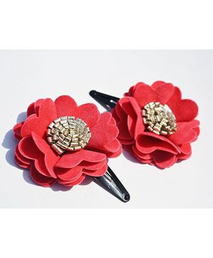 Little Tresses Scalloped Flower Snap Clip Set Of 2 - Peach