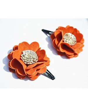 Little Tresses Scalloped Flower Snap Clip Set Of 2 - Orange