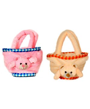 Deals India Teddy Bag Set Of 2 - Pink Orange