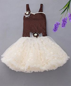 M'Princess Party Dress With Attached Flower - Brown