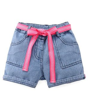 Bubblegum Trendy Denim Shorts With Tie-Up Belt - Blue