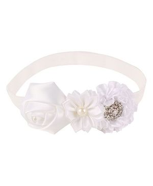 Baby Angel Floral Headband With Pearl - White