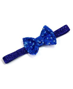 Little Miss Cuttie Sequenced Bow Headband - Blue