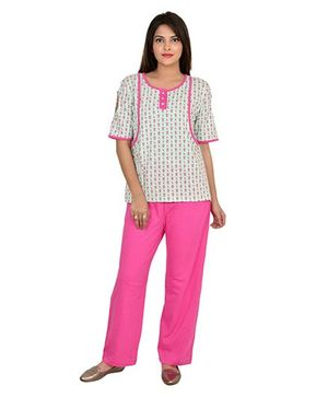9teenAGAIN Half Sleeves Maternity Nursing Night Suit - Green Pink