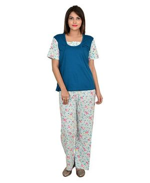 9teenAGAIN Half Sleeves Nursing Night Suit - Teal