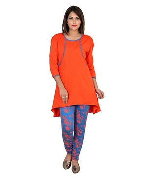 9teenAGAIN High Low Tunic & Legging Night Wear Set - Orange & Blue