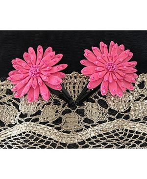 Kalacaree Flower With Bead Work Design Hair Clips - Pink