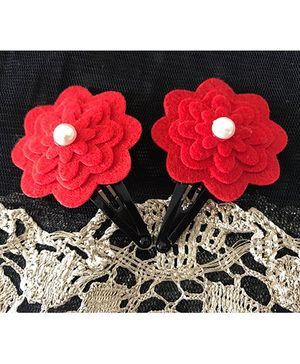 Kalacaree Flower With Pearl Design Hair Clips - Red