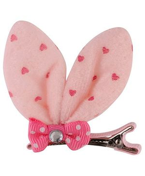 Baby Angel Rabbit Ears Bow Clip - Pink