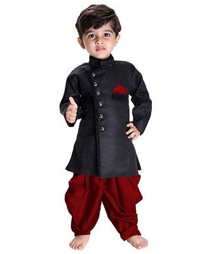Jbn Creation Indo Western Biker Style Jacket With Cowl Dhoti - Black & Maroon